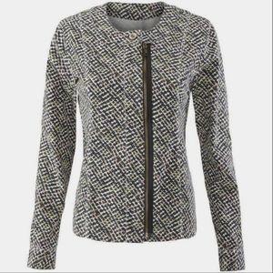 Cabi Cliffside Motto Zip Up Jacket Blazer Printed